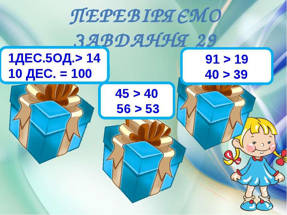 ПЕРЕВІРЯЄМО ЗАВДАННЯ 29 1ДЕС.5ОД.> 14 10 ДЕС. = 10088 45 > 40 56 > 5388 91 > ...