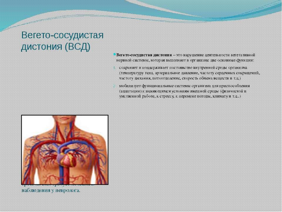 Вегето-сосудистая дистония (ВСД) Вегетативные расстройства являются одними из...