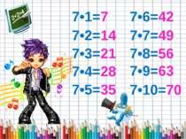 7•1=7 7•2=14 7•3=21 7•4=28 7•5=35 7•6=42 7•7=49 7•8=56 7•9=63 7•10=70