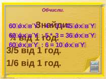 Обчисли. Знайди: ¾ від 1 год. 3/5 від 1 год. 1/6 від 1 год. 60 х в : 4 * 3 = ...