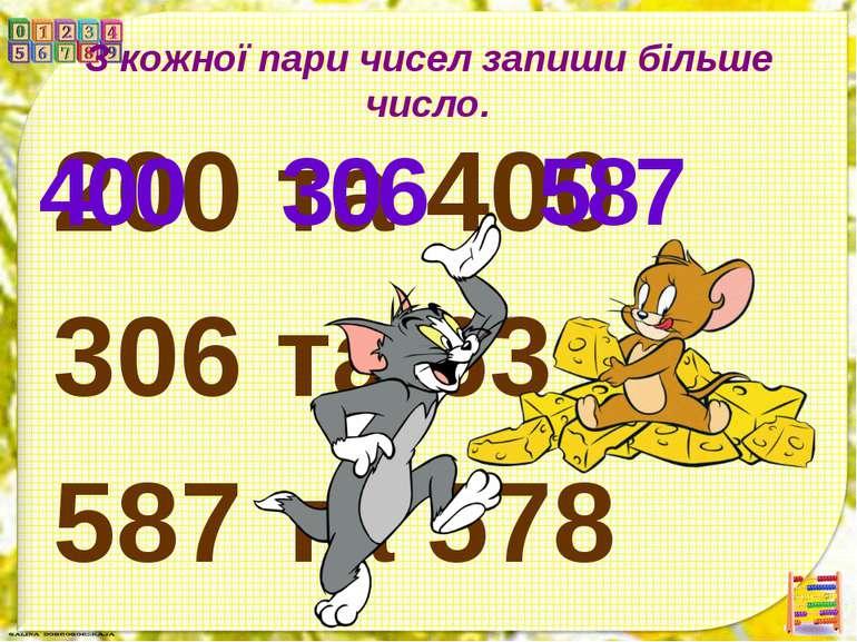 З кожної пари чисел запиши більше число. 200 та 400 306 та 63 587 та 578 400 ...