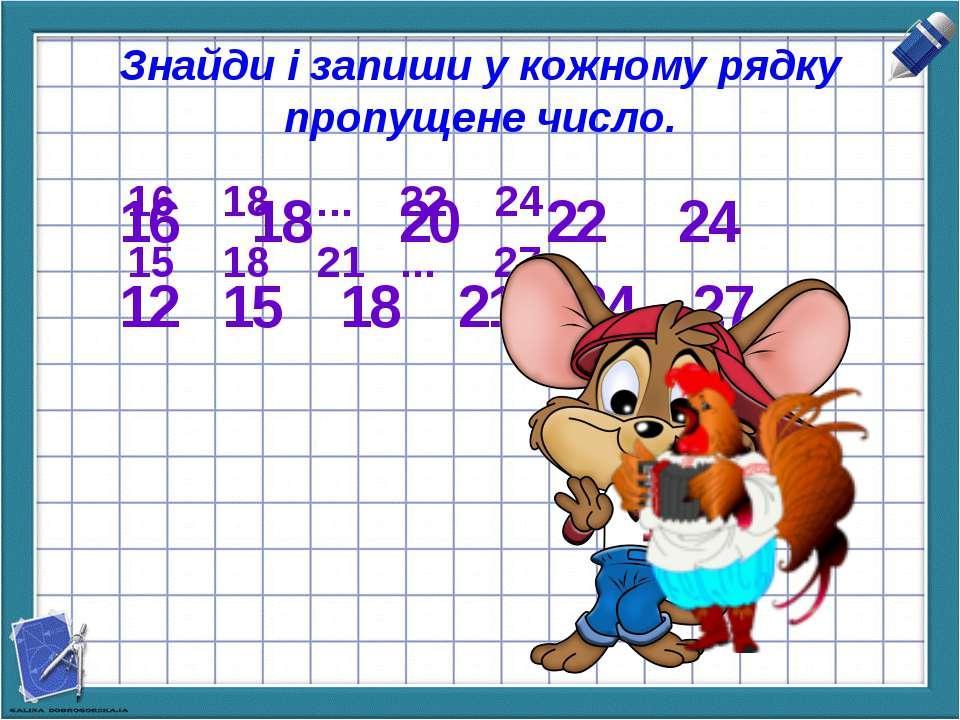 Знайди і запиши у кожному рядку пропущене число. 16 18 ... 22 24 15 18 21 ......