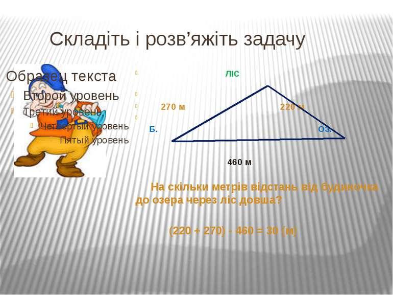 Складіть і розв'яжіть задачу ЛІС 270 м 220 м Б. ОЗ. 460 м На скільки метрів в...