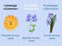 І команда «Сонечко» Перший місяць зими ІІ команда «Барвінок» ІІІ команда «Про...