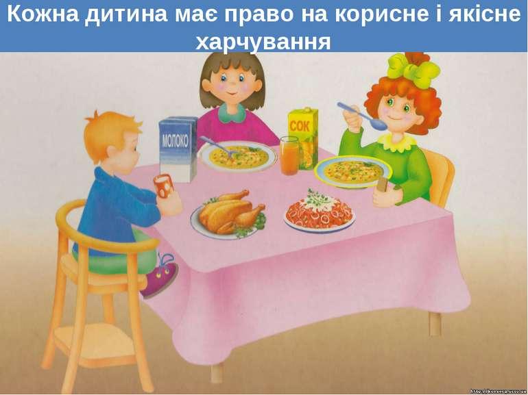 Кожна дитина має право на корисне і якісне харчування