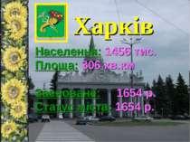 Харків Населення: 1456 тис. Площа: 306 кв.км Засноване: 1654 р. Статус міста:...
