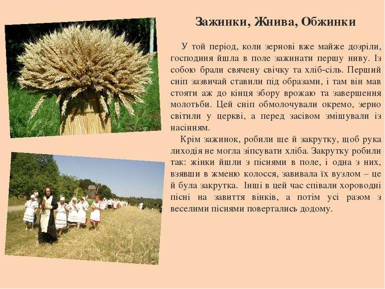 Зажинки, Жнива, Обжинки У той період, коли зернові вже майже дозріли, господи...