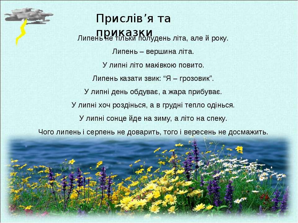 Прислів'я та приказки Липень не тільки полудень літа, але й року. Липень – ве...