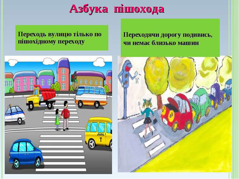 Азбука пішохода Переходь вулицю тілько по пішохідному переходу Переходячи дор...