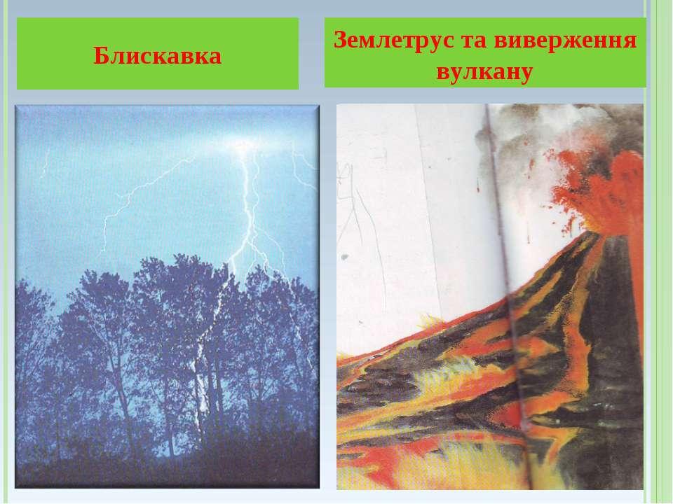 Блискавка Землетрус та виверження вулкану