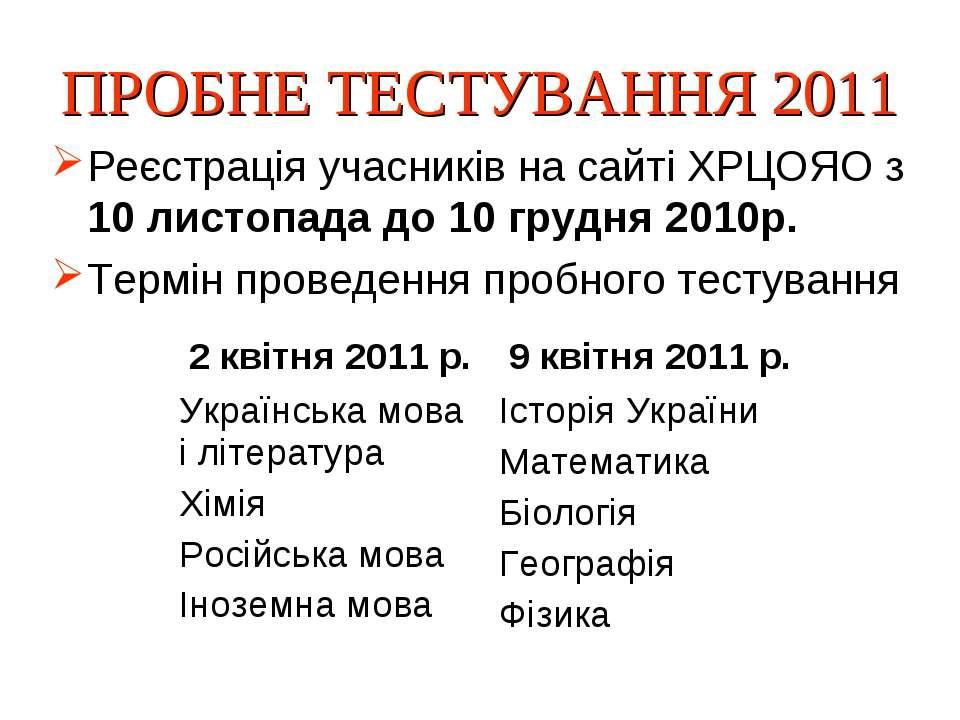 ПРОБНЕ ТЕСТУВАННЯ 2011 Реєстрація учасників на сайті ХРЦОЯО з 10 листопада до...