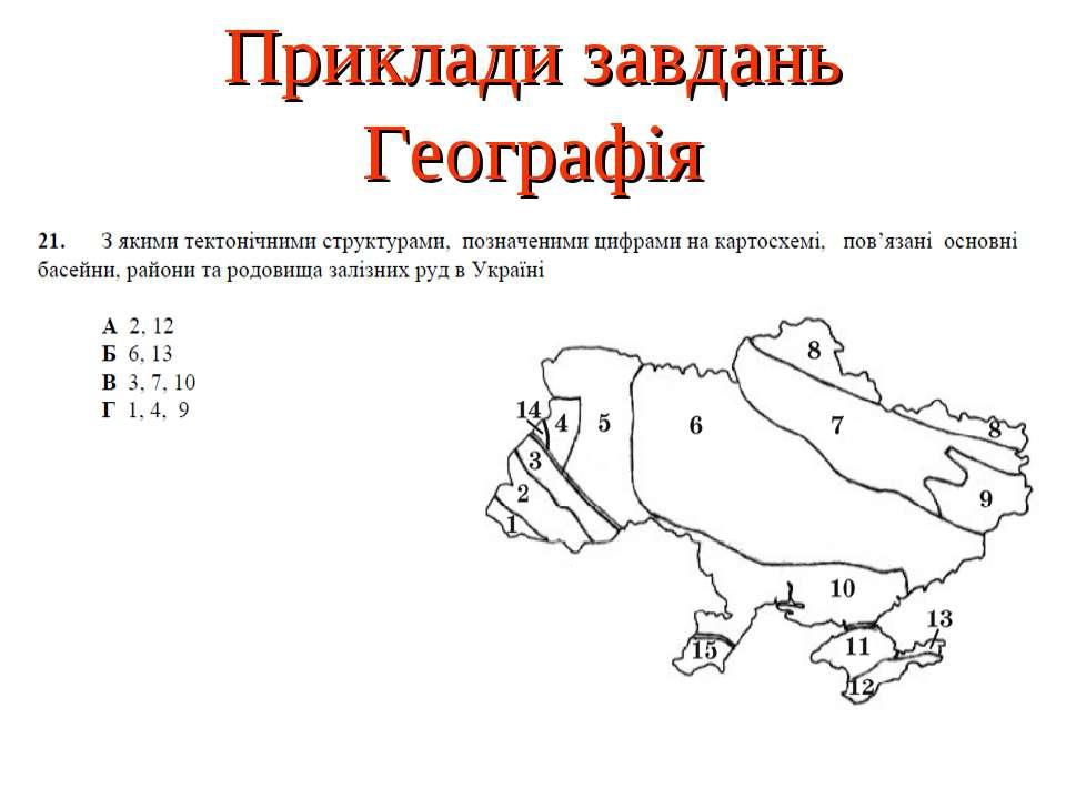 Приклади завдань Географія