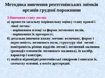 Методика вивчення рентгенівських знімків органів грудної порожнини 3.Вивчення...