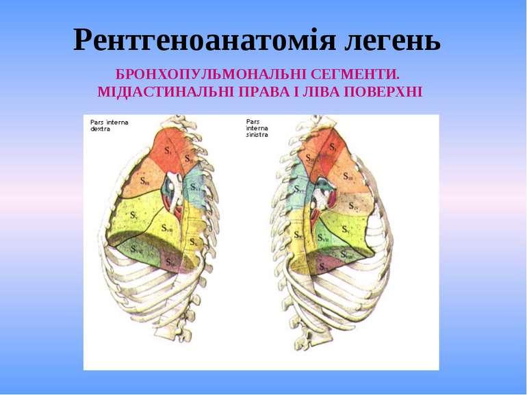 Рентгеноанатомія легень БРОНХОПУЛЬМОНАЛЬНІ СЕГМЕНТИ. МІДІАСТИНАЛЬНІ ПРАВА І Л...
