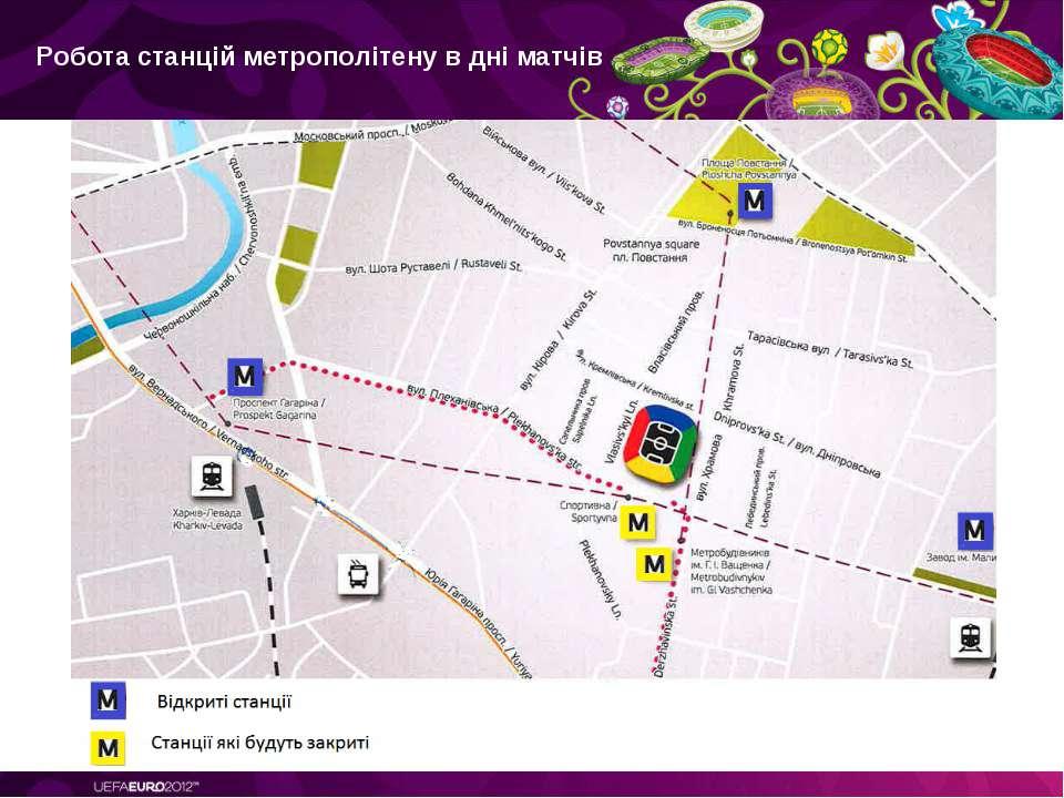 Робота станцій метрополітену в дні матчів: Location, *