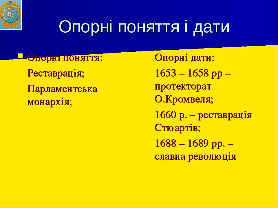 Опорні поняття і дати Опорні поняття: Реставрація; Парламентська монархія; Оп...