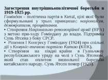 Загострення внутрішньополітичної боротьби в 1919-1925 рр. Гоміндан – політичн...