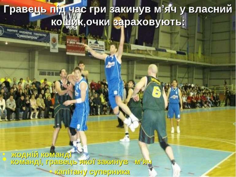 Гравець під час гри закинув м'яч у власний кошик,очки зараховують: жодній ком...