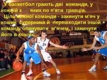 У баскетбол грають дві команди, у кожній з яких по п'яти гравців. Ціль кожної...