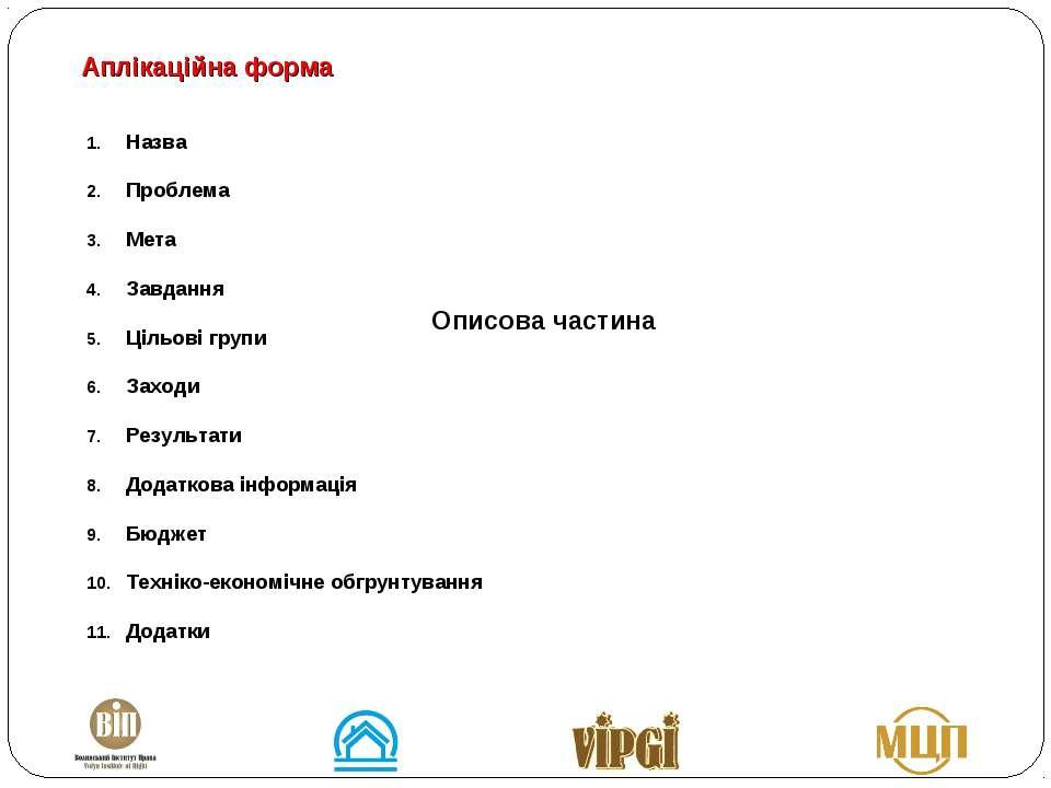 Назва Проблема Мета Завдання Цільові групи Заходи Результати Додаткова інформ...