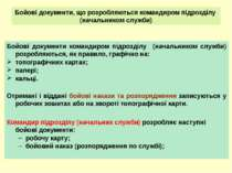 Бойові документи, що розробляються командиром підрозділу (начальником служби)...