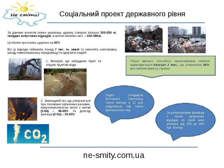 Соціальний проект державного рівня ne-smity.com.ua За даними екологів кожен у...