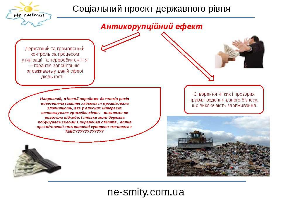 Соціальний проект державного рівня ne-smity.com.ua Антикорупційний ефект Держ...