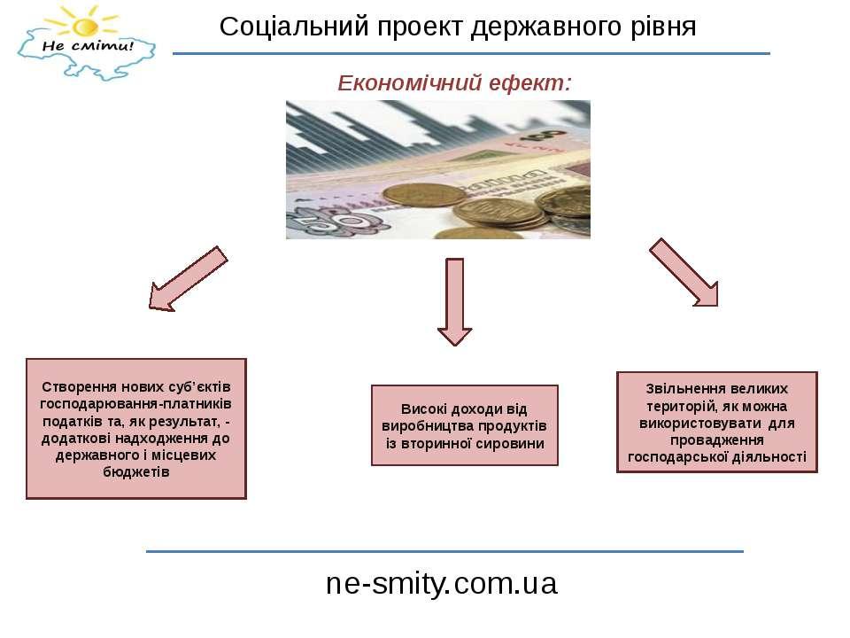 Соціальний проект державного рівня ne-smity.com.ua Економічний ефект: Створен...