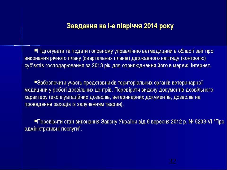 Завдання на І-е півріччя 2014 року Підготувати та подати головному управлінню...