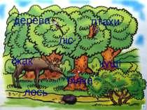 дерева птахи ліс кущі їжак білка лось