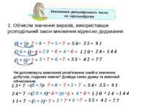 1. Обчисли значення виразів, використавши розподільний закон множення відносн...