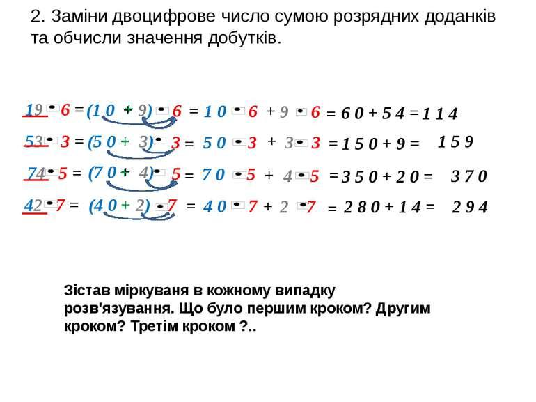 19 6 = 53 3 = 42 7 = 2. Заміни двоцифрове число сумою розрядних доданків та о...