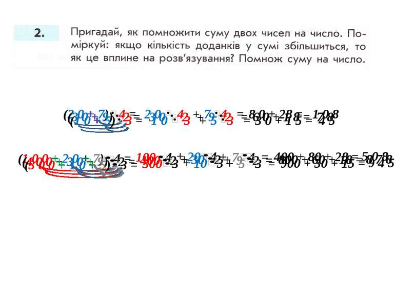(2 0 + 7) 4 = 2 0 4 7 4 + = 8 0 + 28 = 1 0 8 + = 100 4 20 4 7 4 + + 400 + 80 ...