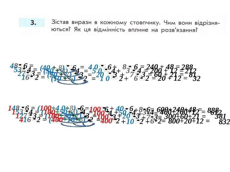 48 6 = = 4 0 6 8 6 + + = 240 + 48 = 288 (40 + 8) 6 148 6 = 40 6 (100+4 0+8) 6...