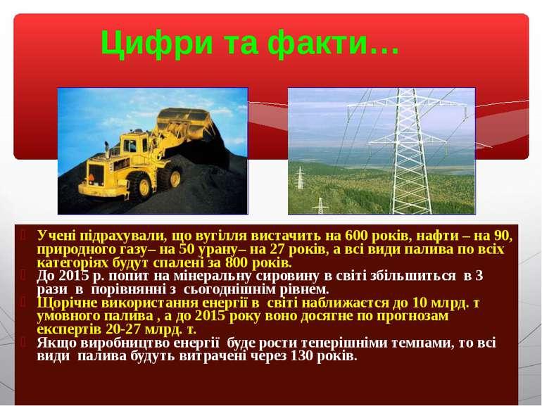 Цифри та факти… Учені підрахували, що вугілля вистачить на 600 років, нафти –...