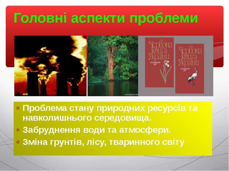 Головні аспекти проблеми Проблема стану природних ресурсів та навколишнього с...