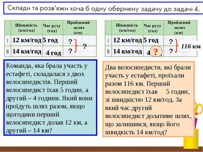 12 км/год 5 год ? ? ? 14 км/год 4 год 12 км/год 5 год ? ? ? 14 км/год 4 год 1...
