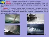 * Ураган — це вітер силою 12 балів за шкалою Бофорта. Шквали — короткочасне р...