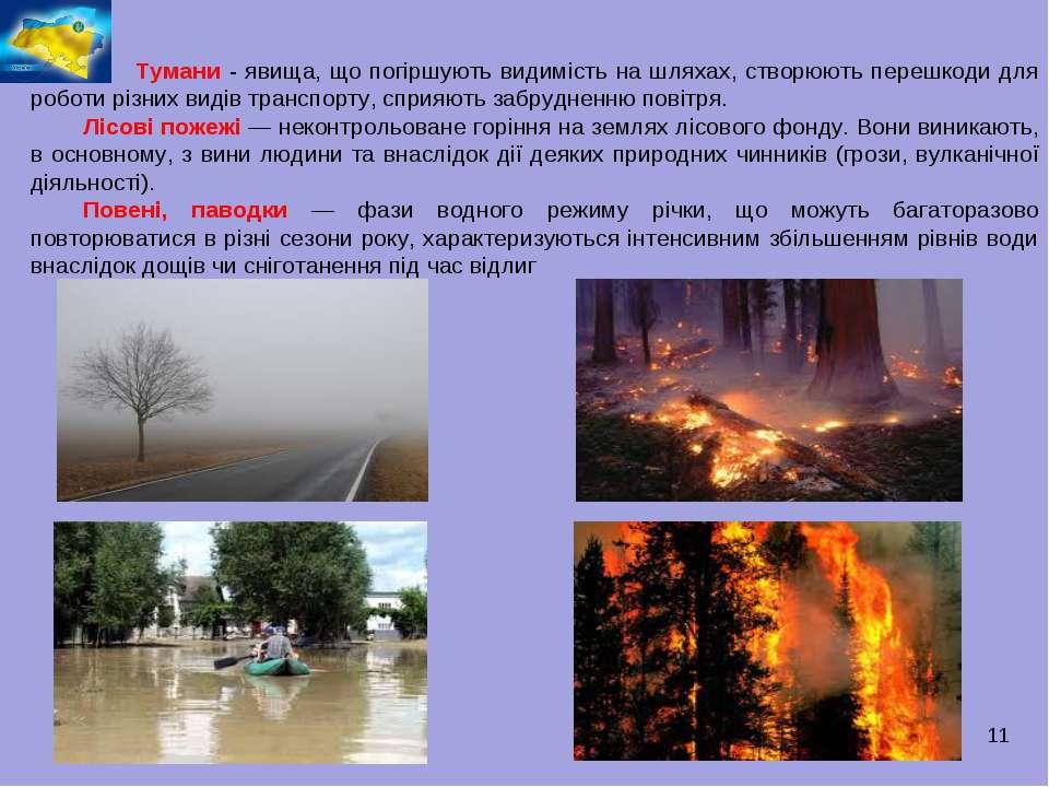* Тумани - явища, що погіршують видимість на шляхах, створюють перешкоди для ...