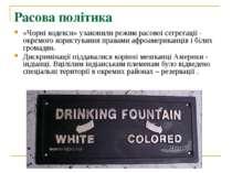 Расова політика «Чорні кодекси» узаконили режим расової сегрегації - окремого...
