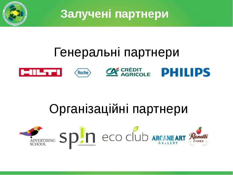 Залучені партнери і Генеральні партнери Організаційні партнери