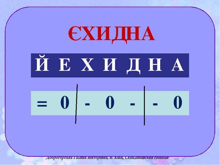 ЄХИДНА Й Е Х И Д Н А = 0 - 0 - - 0