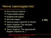 Чинне законодавство: Конституція України Податковий кодекс Бюджетний кодекс М...