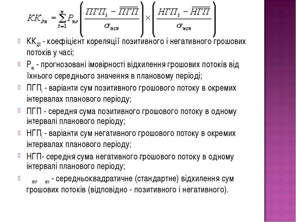 ККДП- коефіцієнт кореляції позитивного і негативного грошових потоків у часі...