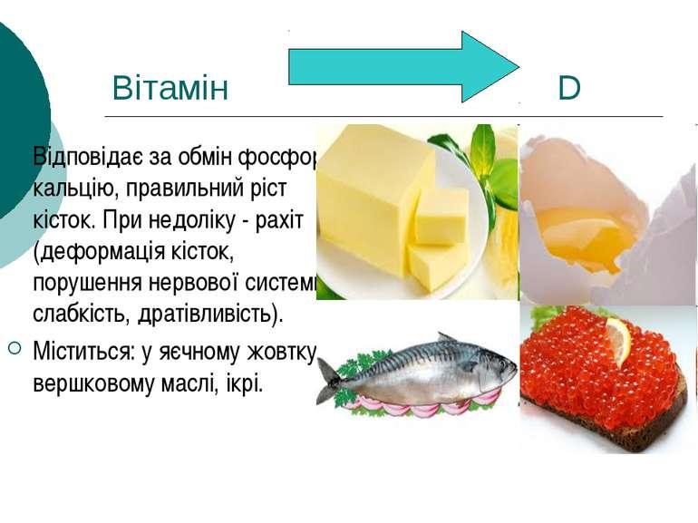 Вітамін D Відповідає за обмін фосфору і кальцію, правильний ріст кісток. При ...