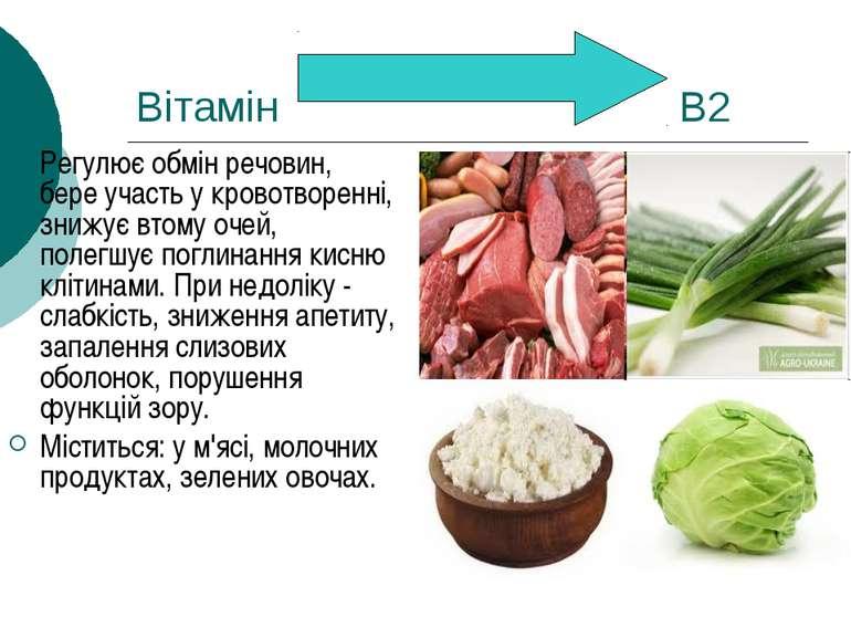 Вітамін В2 Регулює обмін речовин, бере участь у кровотворенні, знижує втому о...