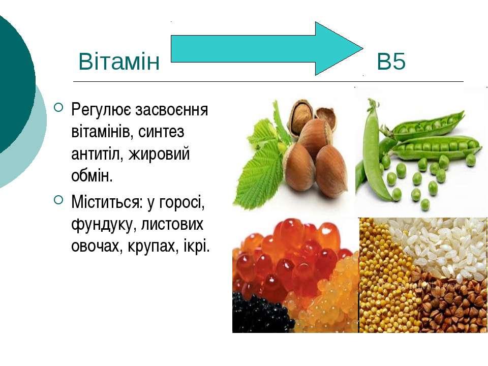 Вітамін В5 Регулює засвоєння вітамінів, синтез антитіл, жировий обмін. Містит...
