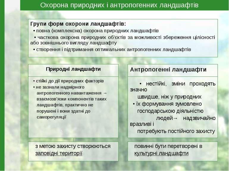 Природні ландшафти • стійкі до дії природних факторів • не зазнали надмірного...