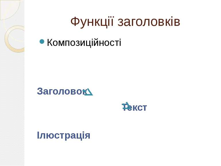 Функції заголовків Композиційності Заголовок Текст Ілюстрація
