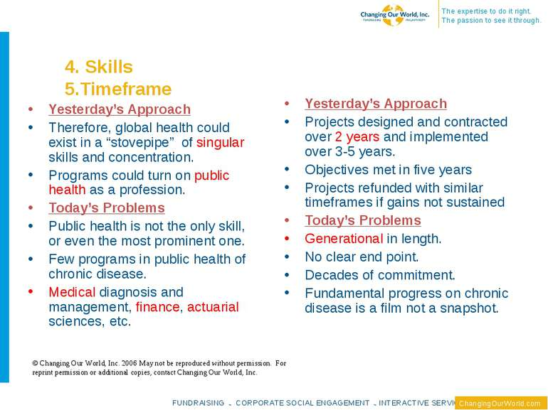4. Skills 5.Timeframe Yesterday's Approach Therefore, global health could exi...